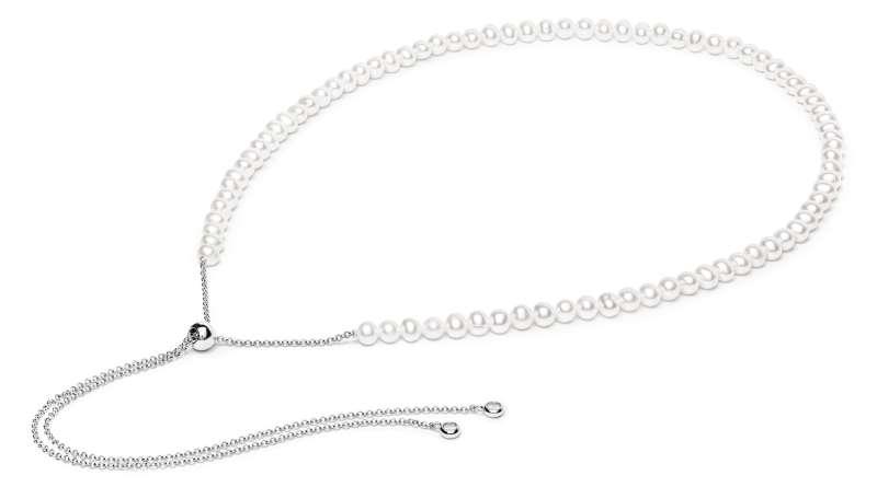 Perlenkette modern stylish, weiß rund 5-6 mm, Länge 70 cm variierbar, mit Zirkonia an den 2 Enden, Gaura Pearls, Estland