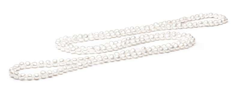 Klassische lange Perlenkette weiß barock 8-9 mm, 120 cm, Gaura Pearls, Estland