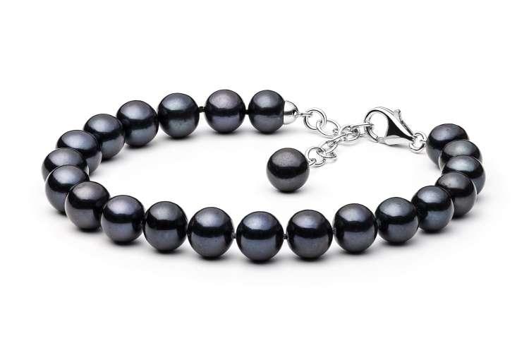 Klassisches Perlenarmband schwarz rund 9-10 mm, 19 cm, Verschluss 925er Silber mit Perle, Gaura Pearls, Estland