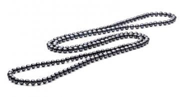 Klassische lange Perlenkette schwarz rund 6.5-7 mm, 120 cm, Gaura Pearls, Estland
