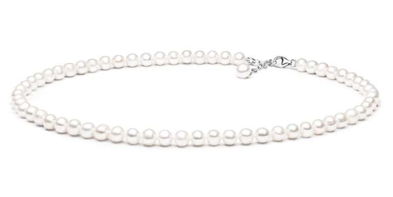 Klassische elegante Perlenkette weiß rund 7-8 mm, 46 cm, Verschluss 925er Silber, Gaura Pearls, Estland