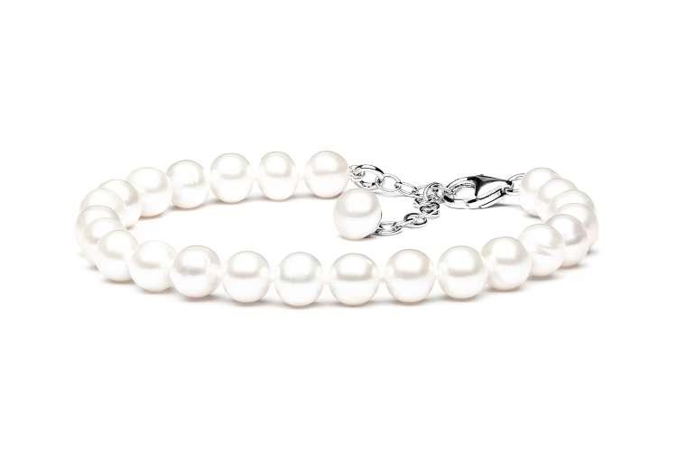 Klassisches elegantes Perlenarmband weiß rund 7-8 mm, 18.5 cm, Verschluss 925er Silber mit Perle, Gaura Pearls, Estland