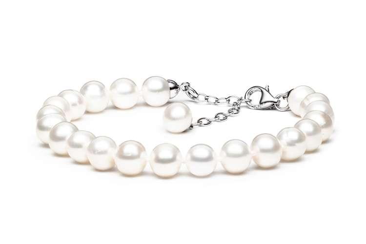 Elegantes klassisches Perlenarmband weiß rund 7.5-8.5 mm, 19 cm, Verschluss Silber mit Perle, Gaura Pearls, Estland