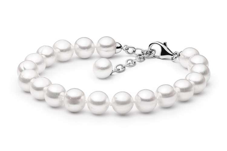 Elegantes Perlenarmband weiß rund 9-10 mm, 19cm, Verschluss 925er Silber mit Perle, Gaura Pearls, Estland