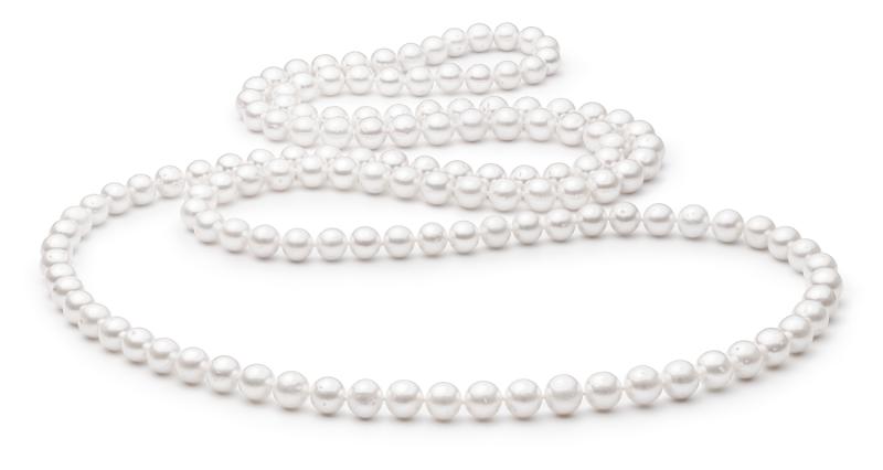 Klassische lange Perlenkette weiß rund 7.5-8 mm, 120 cm, Gaura Pearls, Estland