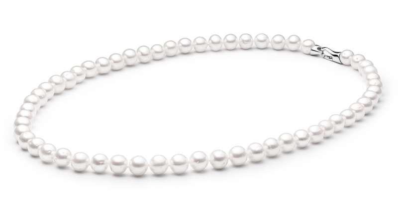 Elegante Perlenkette weiß rund 9-10 mm, 50 cm, Designverschluss 925er Silber, Gaura Pearls, Estland