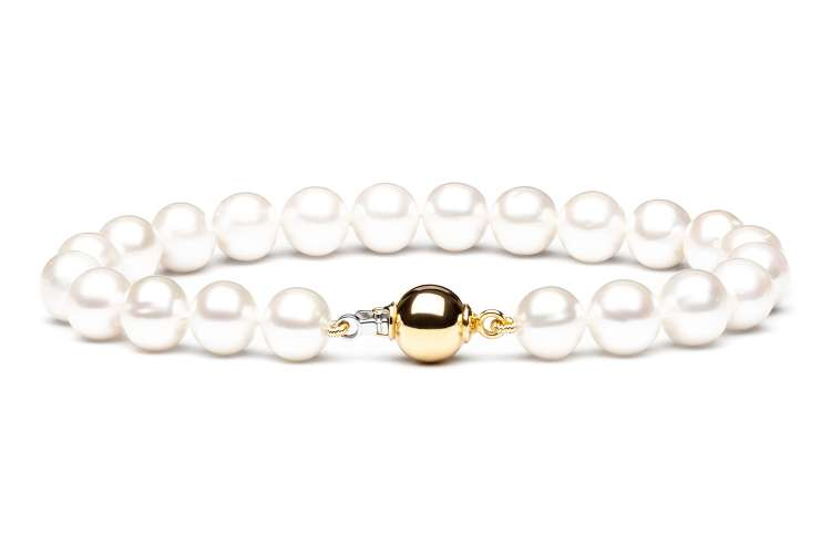 Elegantes leichtes Perlenarmband weiß rund 8-9 mm, 19 cm, 14K Weiß/Gelbgold, Gaura Pearls, Estland