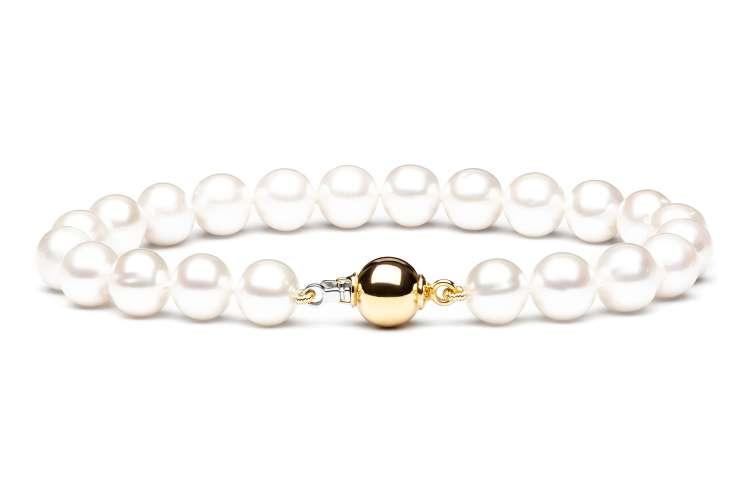Klassisch-elegantes Perlenarmband mit Gold, weiß rund 9-10 mm, 20 cm, 14K Weiß/Gelbgold, Gaura Pearls, Estland