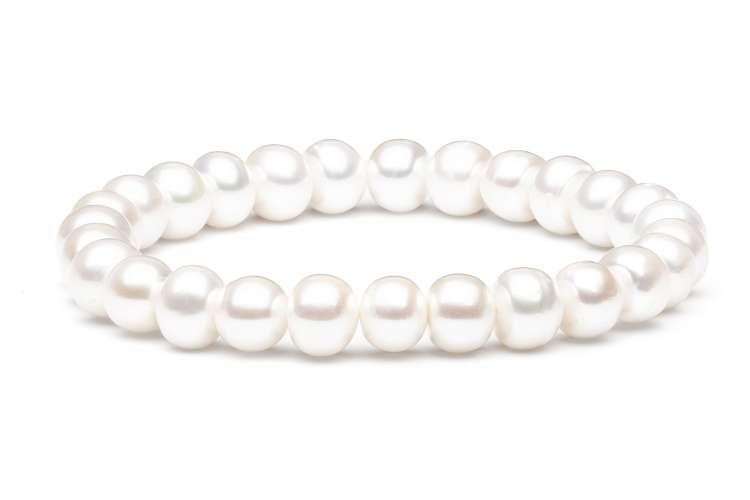 Klassisches Perlenarmband weiß halbrund 8-9 mm, 19 cm Länge flexibles Band, Gaura Pearls, Estland