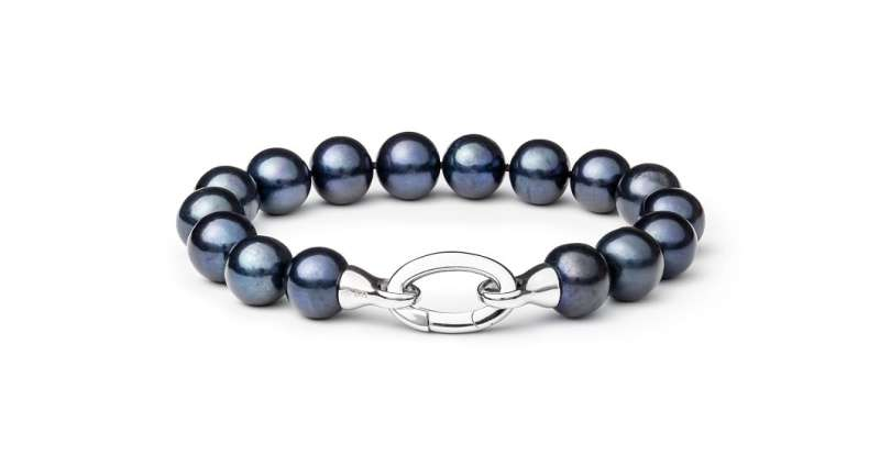 Elegantes Perlenarmband schwarz groß rund 11-12 mm, 20 cm, Designverschluss Silber, Gaura Pearls, Estland