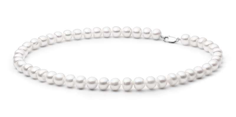 Elegante Perlenkette weiß halbrund 10-11 mm, 50 cm, Verschluss 925er Silber, Gaura Pearls, Estland