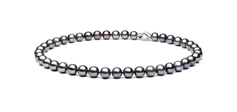 Einzigartige Perlenkette groß schwarz-grau rund 10-11 mm, 45 cm, Verschluss 925er Silber, Gaura Pearls, Estland