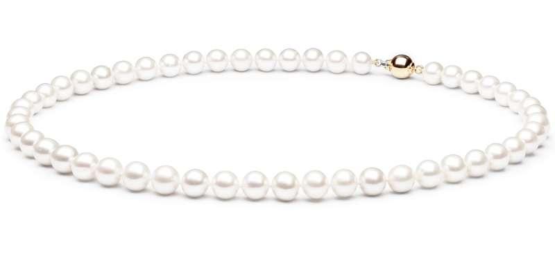 Klassische Perlenkette weiß rund, 8-9 mm, 45 cm, Verschluss 14K Weiß/Gelbgold, Gaura Pearls, Estland