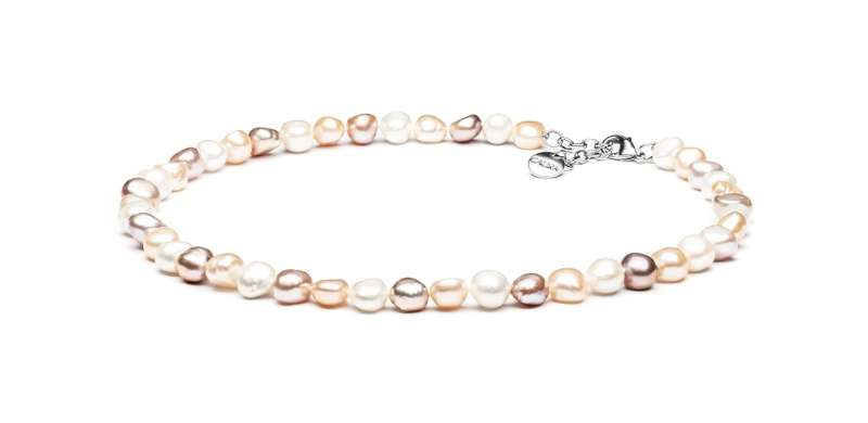 Einzigartige Perlenkette mehrfarbig barock 10-11 mm, 45 cm, Verschluss Stahl variabel, Gaura Pearls, Estland