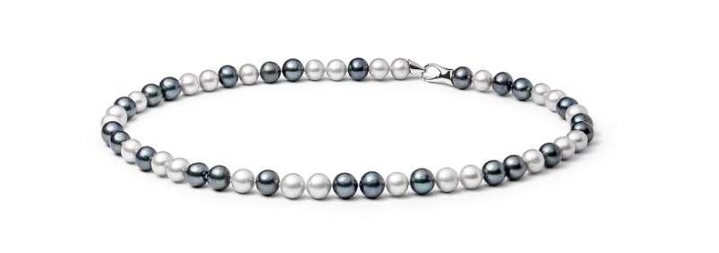 Moderne Perlenkette bunt rund 8-9 mm, 50 cm, Verschluss 925er Silber, Gaura Pearls, Estland