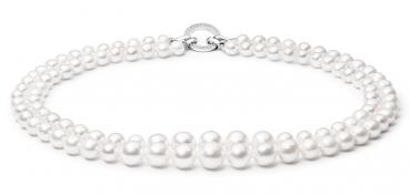Luxury-Perlenkette/Collier weiß mit Zirkonia/Silber-Zierverschluss, rund, 7-10 mm,  40 cm, doppelt / lang tragbar