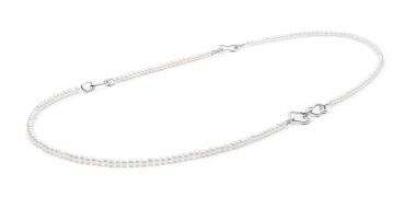 Design-Perlenkette lang, weiß rund 4-4.5 mm, 84 cm Länge, Elemente und Verschluss 925er Silber, Gaura Pearls, Estland