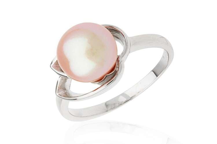Klassischer Perlenring rosa rund 9.5-10 mm, 925er rhodiniertes Silber, Gaura Pearls, Estland