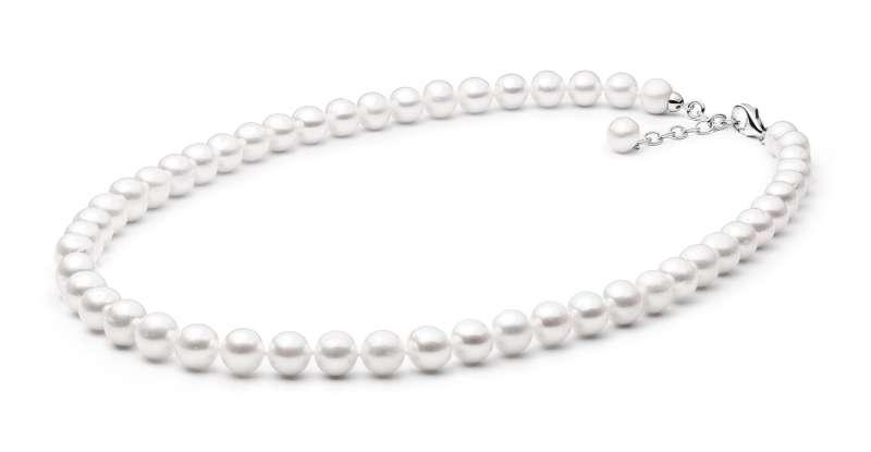 Elegante Perlenkette weiß rund 9-10 mm, 55 cm, Verschluss 925er Silber mit Perle, Gaura Pearls, Estland