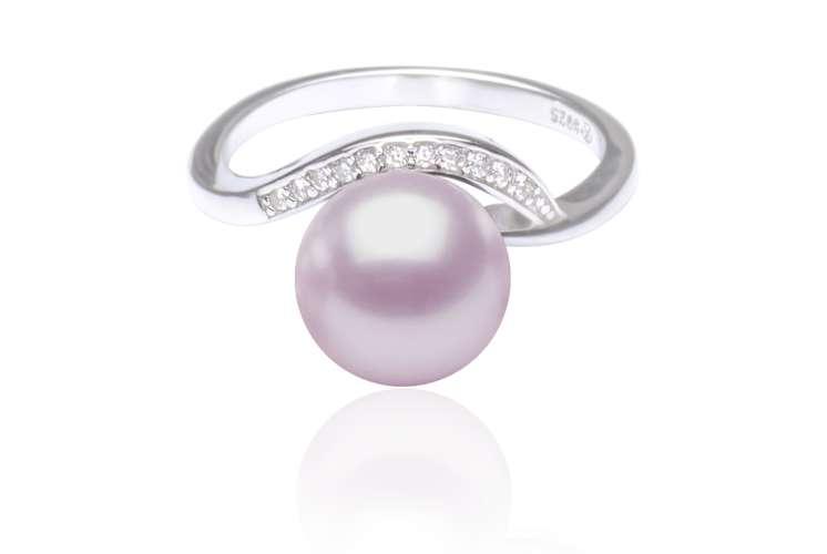 Eleganter Perlenring lavendel rund mit Zirkonia-Einfassung, 925er rhodiniertes Silber, Gaura Pearls, Estland