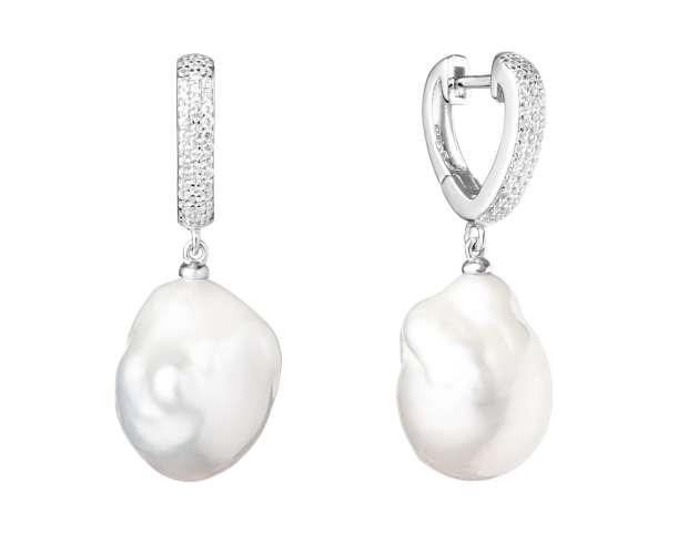 Eleganter Perlenohrring hängend weiß barock 13-14 mm, Zirkonia, Englischer Verschluss, Gaura Pearls, Estland