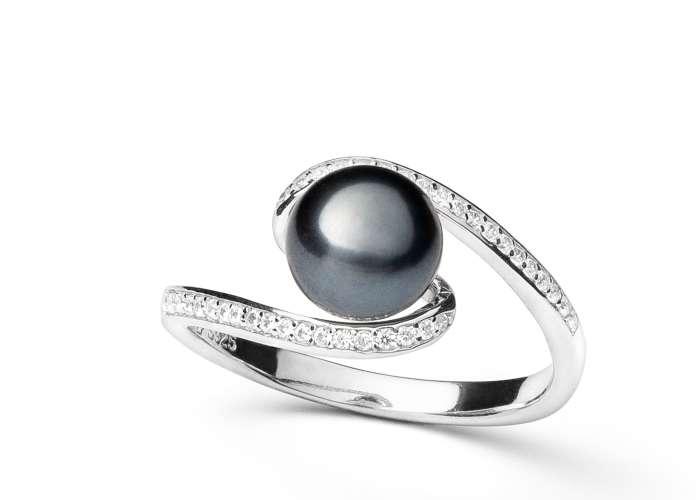 Geschwungener Ring mit schwarzer Perle 7.5-8 mm mittig, Zirkonia, 925er rhodiniertes Silber, Gaura Pearls, Estland
