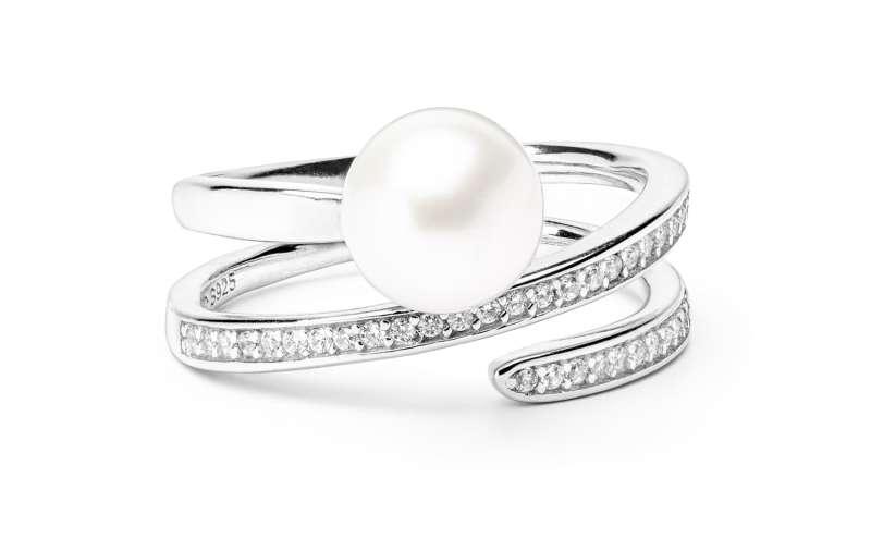 Geschwungener Ring mit weißer Perle 8-8.5 mm, Zirkonia, 925er rhodiniertes Silber, Gaura Pearls, Estland