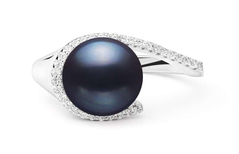 Perlenring schwarz 9.5-10 mm umfasst mit Zirkonia, 925er rhodiniertes Silber, Gaura Pearls, Estland