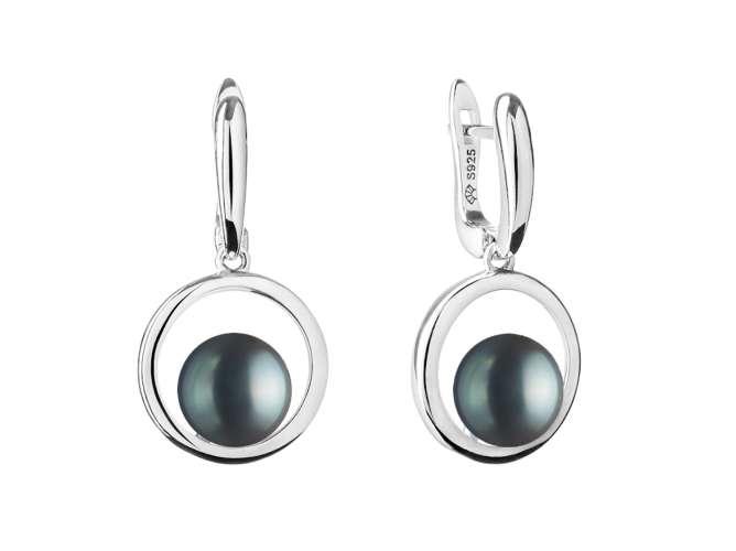 Casual Perlenohrring schwarz rund 8.5-9 mm, Englischer Verschluss, Gaura Pearls, Estland