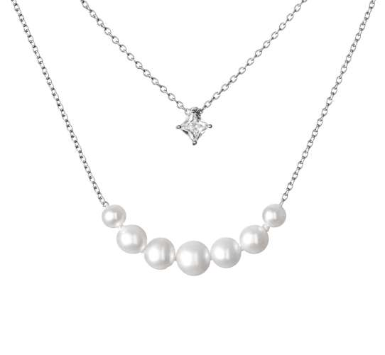 Moderne Design-Silberkette 2-reihig mit weißen Perlen, 4-6.5 mm und Zirkonia, 40 cm, Gaura Pearls, Estland