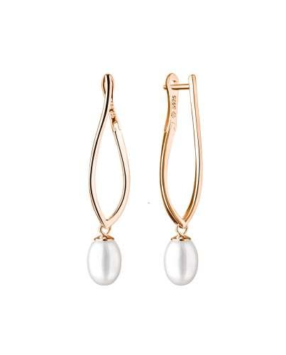 Eleganter Perlenohrring in Roségold 585 plattiert (1 Mik) weiß tropfen 6.5-7 mm, Engl Verschluss, Gaura Pearls, Estland